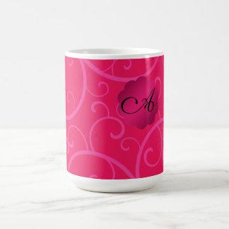 Monogram hot pink swirls coffee mug