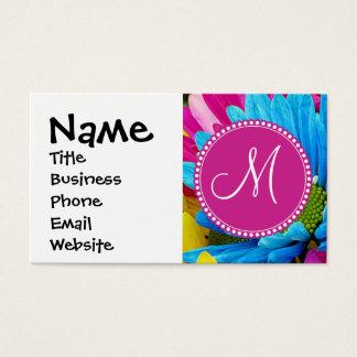 Monogram Hot Pink Teal Blue Gerber Daisies Flowers Business Card