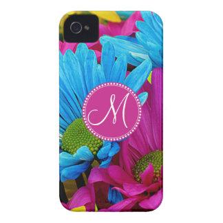 Monogram Hot Pink Teal Blue Gerber Daisies Flowers iPhone 4 Cases