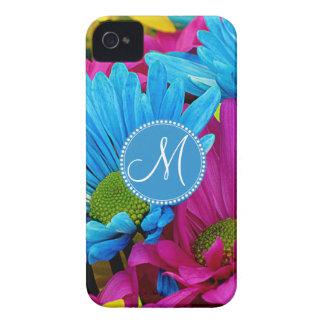 Monogram Hot Pink Teal Blue Gerber Daisies Flowers iPhone 4 Cover