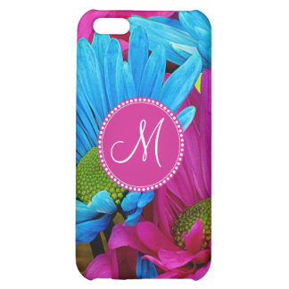 Monogram Hot Pink Teal Blue Gerber Daisies Flowers Cover For iPhone 5C