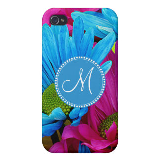 Monogram Hot Pink Teal Blue Gerber Daisies Flowers Covers For iPhone 4