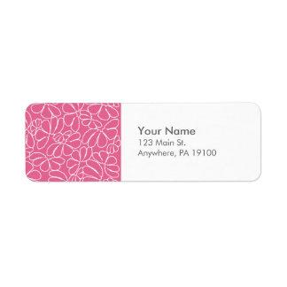 Monogram Hot Pink Whimsical Ikat Floral Pattern Label
