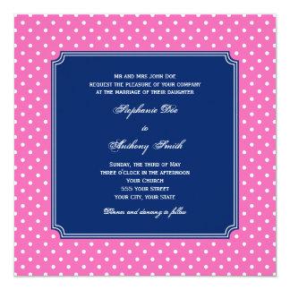 Monogram Hot Pink, White Polka Dot with Royal Blue Card