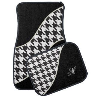 Monogram Houndstooth Pattern | Black & White Car Floor Mat