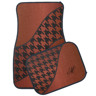 Monogram Houndstooth Pattern | Bronze Car Floor Mat