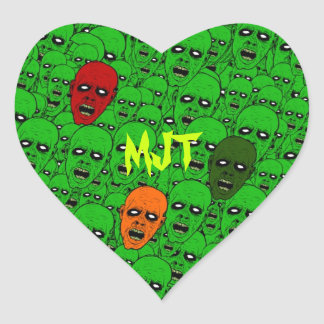 Monogram Hungry Undead Zombie Heads Heart Sticker