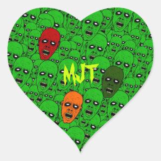 Monogram Hungry Undead Zombie Heads Heart Sticker