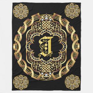 Monogram I CUSTOMIZE To Change Background Color Fleece Blanket