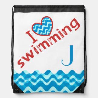 Monogram I Heart Swimming Drawstring Bag