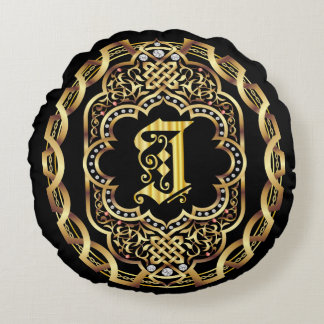 Monogram I IMPORTANT Read About Design Round Pillow