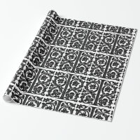 Monogram I Initial Black and White Floral Pattern Wrapping Paper