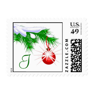 Monogram I Red Ornament Christmas Postage Stamp