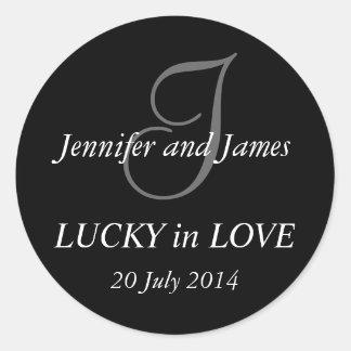 Monogram I Stickers for Weddings Black