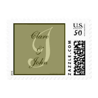 Monogram I Wedding Bride Groom Names Stamp