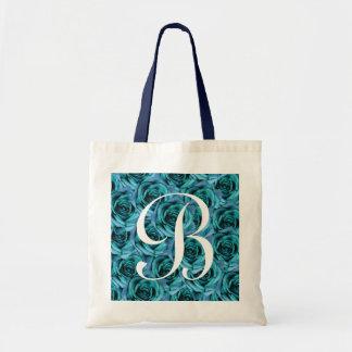 Monogram Ice Blue Roses ToteBag Letter B Tote Bag