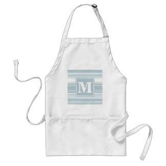 Monogram ice blue stripes adult apron