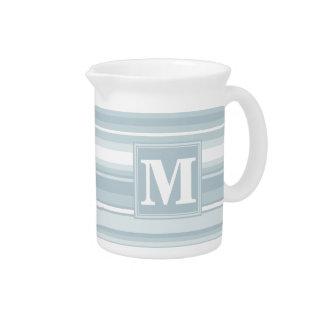 Monogram ice blue stripes beverage pitcher