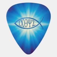 Monogram Ichthus Christian Symbol Guitar Pick