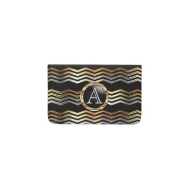 Professional Business Monogram - Ikat Chevron Gold and Black Business Card Holder