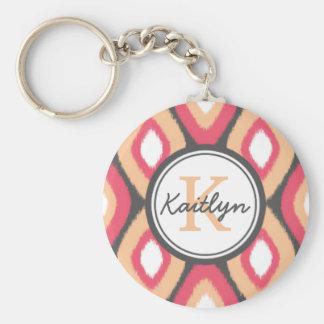 Monogram Ikat Diamonds Pattern Pink Grey Keychain