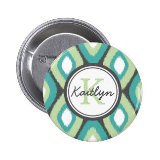 Monogram Ikat Diamonds Pattern Teal Mint Pinback Button
