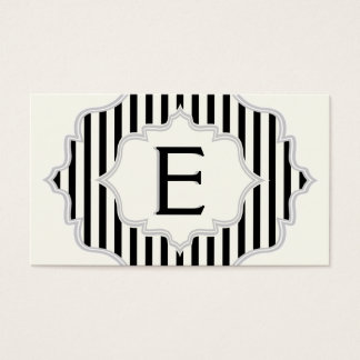 Monogram in a frame with black, white stripes business card