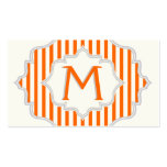 Monogram in a frame with orange, white stripes Double-Sided standard business cards (Pack of 100)