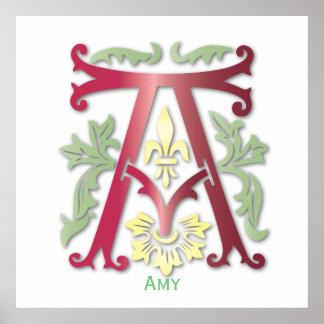 Monogram in Floral Design Poster
