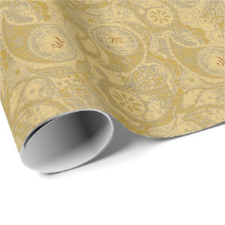 Monogram in Paisley Halftone MIPH/g Wrapping Paper