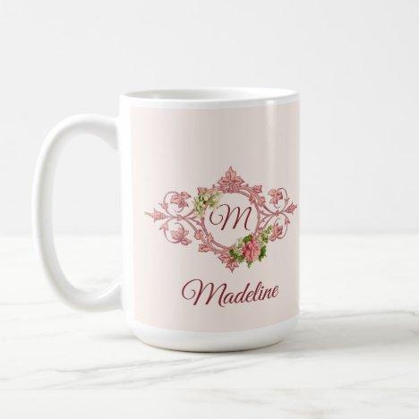 Monogram in Pretty Pink Frame Coffee Mug