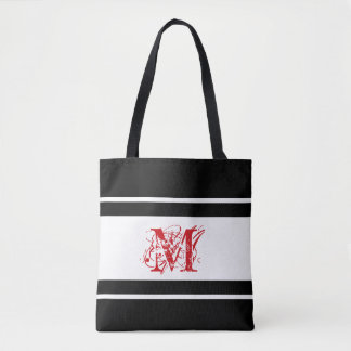 Monogram in Red by JoMazArt Tote Bag