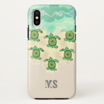 Monogram in the sand with turtles iPhone x case