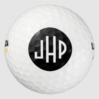 Monogram In White On Black Circle Golf Balls