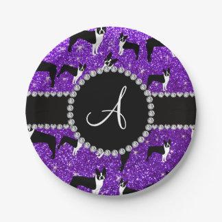 Monogram indigo purple glitter boston terriers paper plate