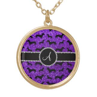 Monogram indigo purple glitter dachshund round pendant necklace