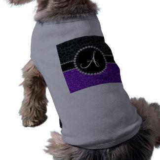 Monogram indigo purple glitter dark gray leopard dog t-shirt