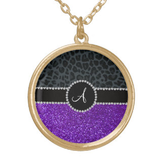 Monogram indigo purple glitter dark gray leopard round pendant necklace