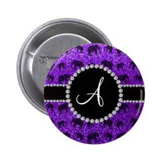 Monogram indigo purple glitter elephants button