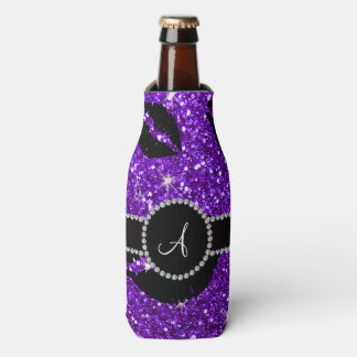 Monogram indigo purple glitter kisses bottle cooler