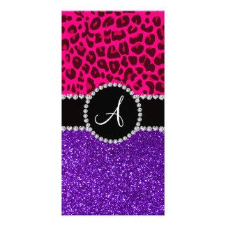 Monogram indigo purple glitter neon pink leopard photo card