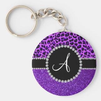 Monogram indigo purple glitter neon purple leopard basic round button keychain