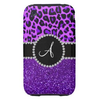 Monogram indigo purple glitter neon purple leopard iPhone 3 tough covers