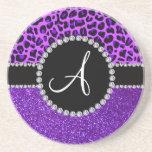 Monogram indigo purple glitter neon purple leopard beverage coasters