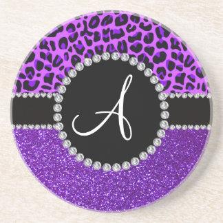 Monogram indigo purple glitter neon purple leopard drink coaster