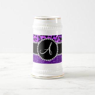 Monogram indigo purple glitter neon purple leopard 18 oz beer stein
