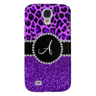 Monogram indigo purple glitter neon purple leopard samsung galaxy s4 case
