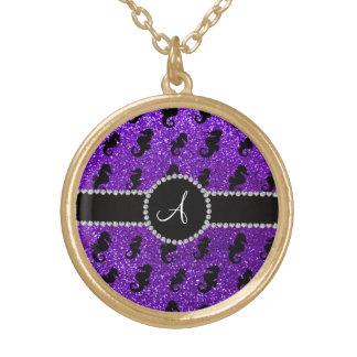 Monogram indigo purple glitter seahorses round pendant necklace