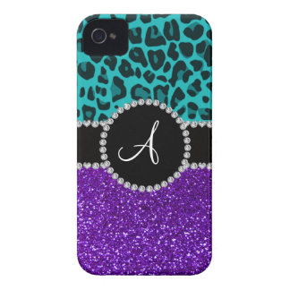 Monogram indigo purple glitter turquoise leopard iPhone 4 case