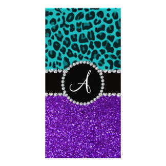 Monogram indigo purple glitter turquoise leopard photo card